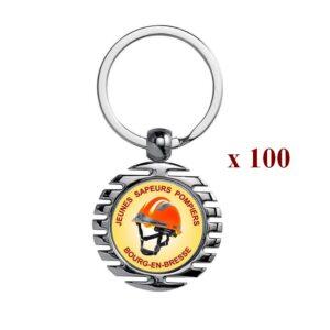 Lot de 100 Porte-clés personnalisés Sapeurs Pompiers 100M945JSP