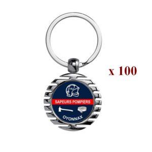 Lot de 100 Porte-clés personnalisés Sapeurs Pompiers 100M945SAP