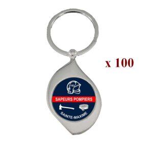 Lot de 100 Porte-clés personnalisés Sapeurs Pompiers 100M961SAP