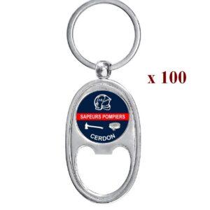 Lot de 100 Porte-clés personnalisés Sapeurs Pompiers 100M979SAP