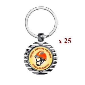 Lot de 25 Porte-clés personnalisés Sapeurs Pompiers 25M945JSP