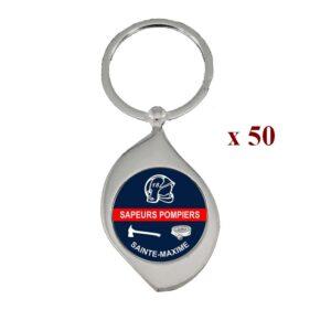 Lot de 50 Porte-clés personnalisés Sapeurs Pompiers 50M961SAP