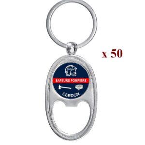 Lot de 50 Porte-clés personnalisés Sapeurs Pompiers 50M979SAP
