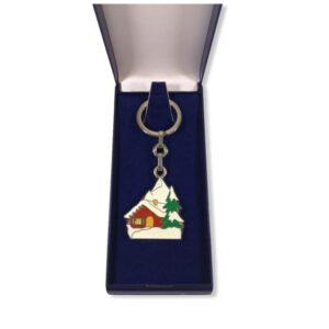 Porte-clés Chalet Hiver émaillé PC033